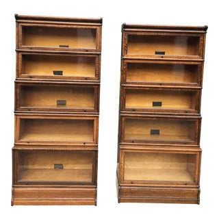 Quartersawn Oak Macey Barrister Bookcases - A Pair