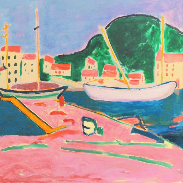 2020s 'Port De Vendres' by Ant McNaught, 2020, After André Derain, Esalen, California, Post Impressionist Oil For Sale - Image 5 of 12