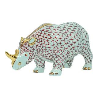 African Safari Porcelain Figural Rhinoceros Herend Hungary For Sale