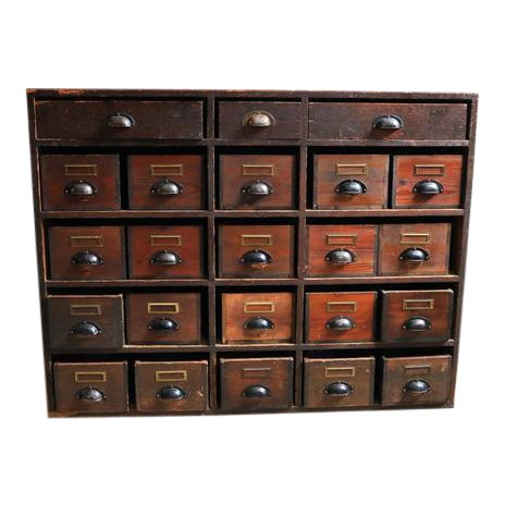 Large Danish Pine Apothecary Cabinet For Sale