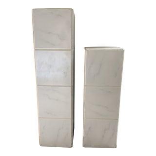Vintage 1980's Tiled Pedestals, a Pair For Sale