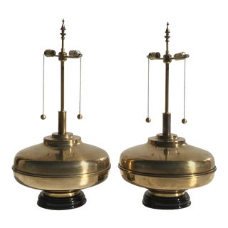 Laurel Lamp Company Mid-Century Giant Patinated Brass Lamps - a Pair For Sale