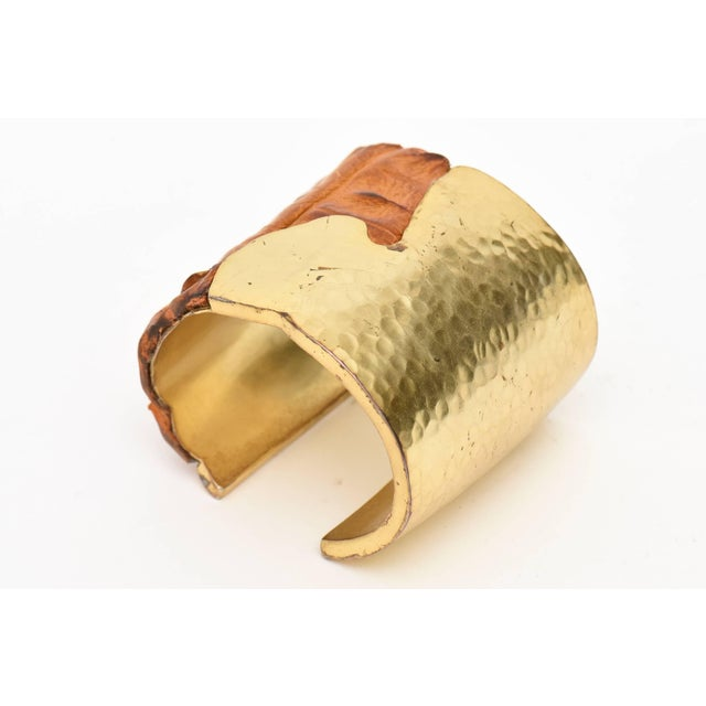 Hammered Brass and Crocodile Leather Cuff Signed Artisan Bracelet For Sale - Image 4 of 10