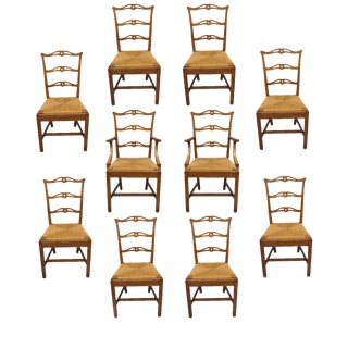 Chippendale Mission Oak Dining Chairs - Set of 10