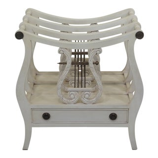 Lyre Style White 1 Drawer Canterbury Magazine Rack For Sale