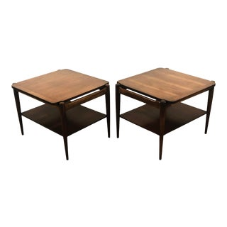 Mid-Century Modern Bassett Danish Inspired Walnut Side Tables- A Pair For Sale
