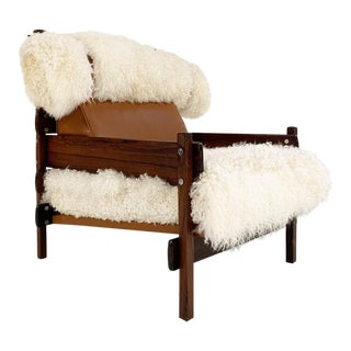 Sergio Rodrigues for Oca Solid Jacaranda Tonico Chair Restored in Gotland Sheepskin and Loro Piana Italian Buffalo Leather For Sale