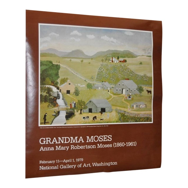 """Vintage """"Grandma Moses"""" Exhibition Poster National Gallery of Art, Washington, DC 1979 For Sale"""