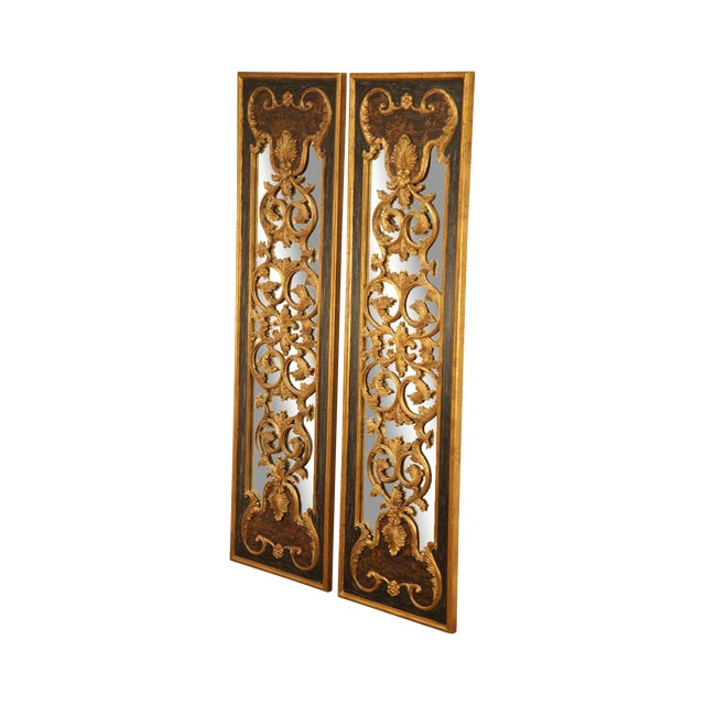 "Castilian 76"" Tall Pair Gilt Carved Rococo Chinoiserie Painted Mirror Wall Panels For Sale"