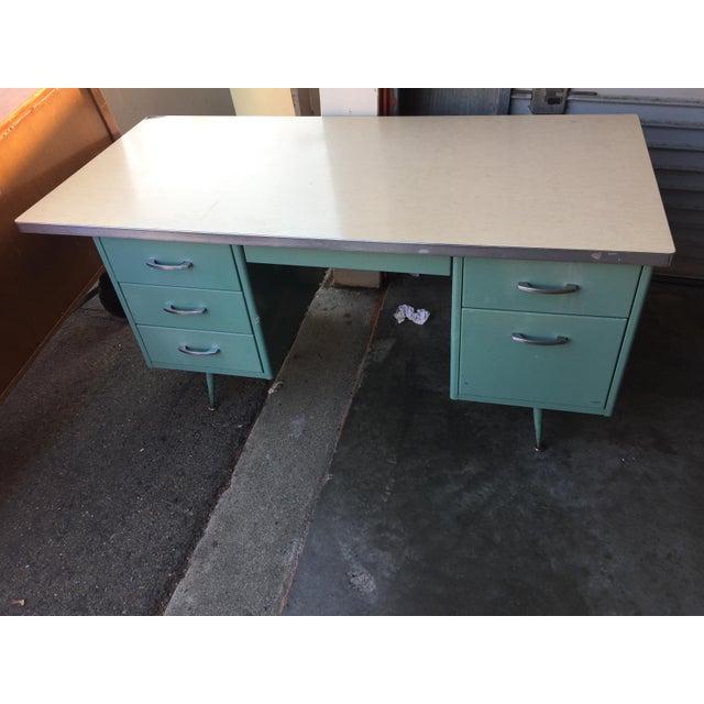 Classic Vintage Spindle Leg Tanker Desk - Image 2 of 8