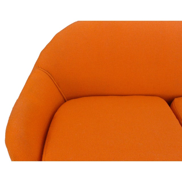 Mid-Century Mod Viko Baumritter Biomorphic Free Form Tangerine Orange Couch For Sale In Los Angeles - Image 6 of 9