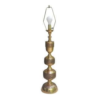 James Mont Style Asian Brutalist Aztec Motif Brass Table Lamp For Sale
