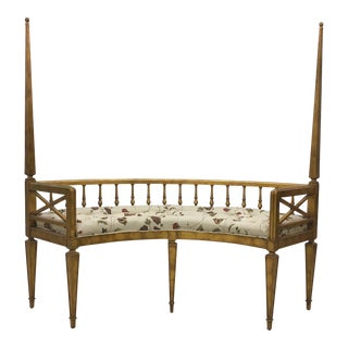 Hollywood Regency Curved Gilt Wood Settee For Sale