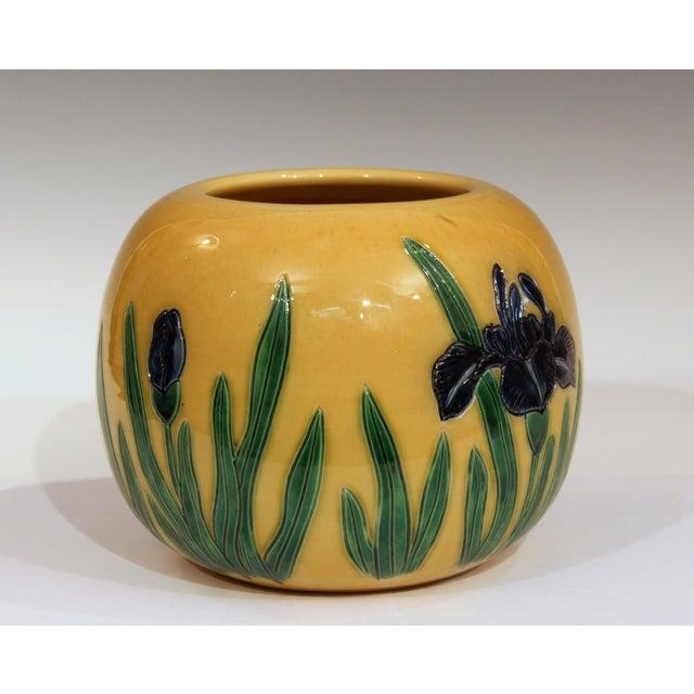 Ceramic Large Tanabe-Awaji Pottery Japanese Incised Iris Signed Jardinière Bowl Vase For Sale - Image 7 of 9