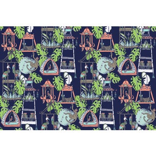 Menagerie Midsummer's Night Linen Cotton Fabric, 3 Yards For Sale