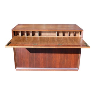 Vintage Mid Century Modern Walnut Mini Credenza Cabinet Writing Desk Dresser For Sale