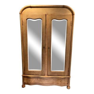 Boho Chic Natural Oak Antique Armoire With Beveled Mirrored Doors For Sale