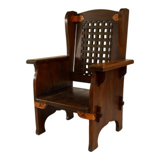 American Mission Leather and Oak Wing Chair For Sale