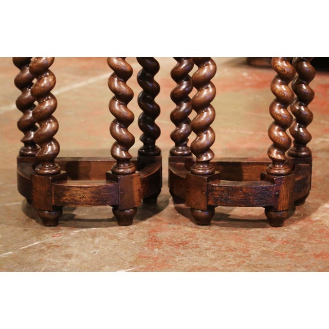 Mid-19th Century Louis XIII Oak Barley Twist Demilune Side Tables - a Pair For Sale In Dallas - Image 6 of 9