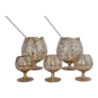 Dorothy Thorpe Gold Splatter Cocktail Set - Set of 7 For Sale