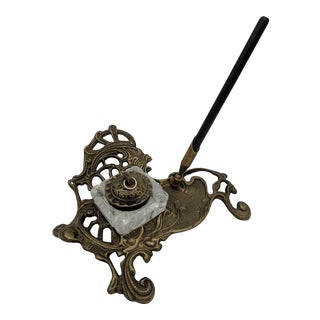 Louis XVI Brass Filigree Ink Well / Pen Holder