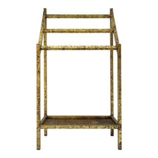 Vintage Hollywood Regency Gilt Metal Towel Rack, Umbrella Stand For Sale