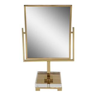 Polished Brass and Acrylic Vanity Mirror by Charles Hollis Jones For Sale