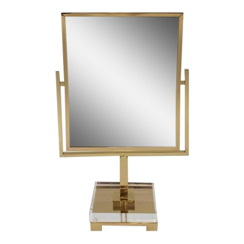 Polished Brass and Acrylic Vanity Mirror by Charles Hollis Jones - Image 1 of 8