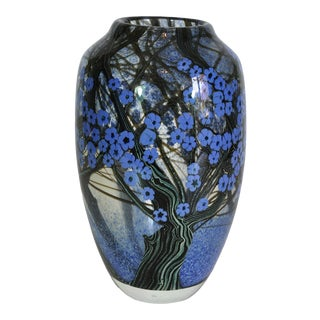 1980s Vintage Orient and Flume Hawthorn Art Glass Vase For Sale