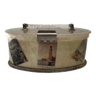 20th Century Hollywood Regency Confetti Lucite Handbag Box With Travel Sticker Motifs For Sale