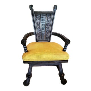 French Breton Renaissance Revival Carved Throne Chair For Sale