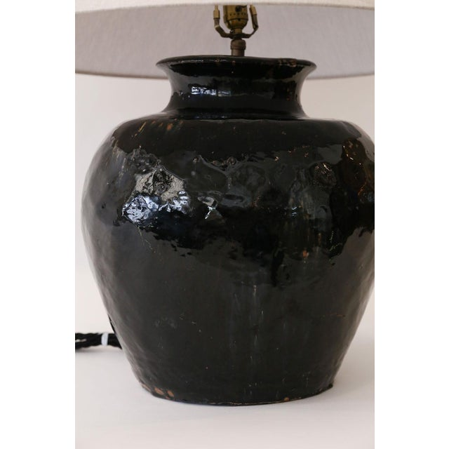 Black Black Glazed Terracotta Table Lamp For Sale - Image 8 of 10