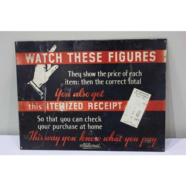 Industrial 1930's Vintage National Cash Register Co Advertising Sign For Sale - Image 3 of 3