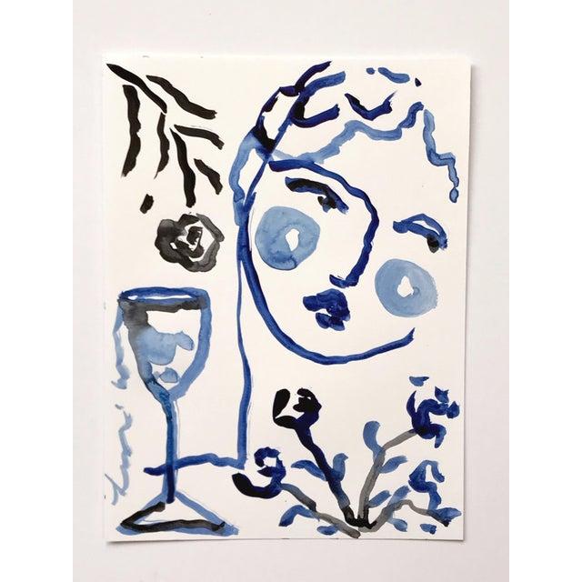 Black & Blue 'Flowers & Wine' Painting - Image 3 of 4