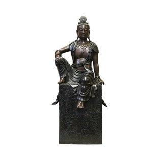 Chinese Fine Bronze Metal Sitting Tara Bodhishattva Kwan Yin Buddha Statue