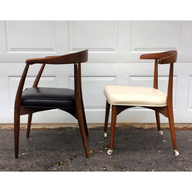 These mid century modern side chairs were designed by Lawrence Peabody for Richard Nemschoff. Both feature a gorgeous...