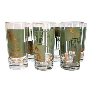 Mid-Century Tumblers With Egyptian Motif - Set of 6