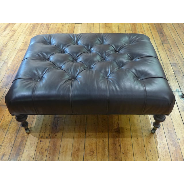 Lee Industries Modern Dark Leather Tufted Ottoman/Coffee Table For Sale - Image 4 of 9