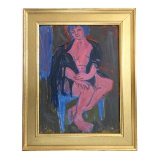 Victor DI Gesu Seated Nude Expressionist Oil Painting