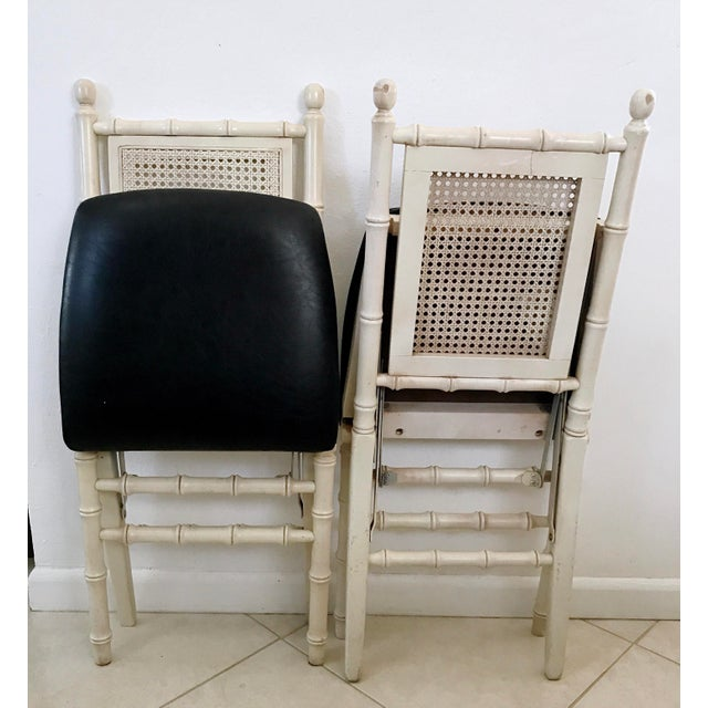 1960's Stackmore Faux Bamboo Cane Back Folding Chair- a Pair For Sale - Image 4 of 10