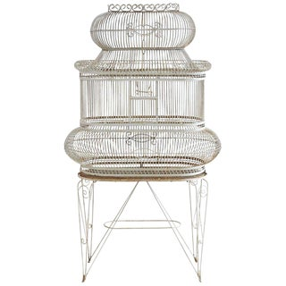French Painted Wrought Iron Bird Cage on Stand