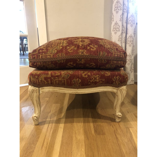 French Country Sam Moore Upholstered Ottoman in Tapestry Fabric For Sale - Image 3 of 11