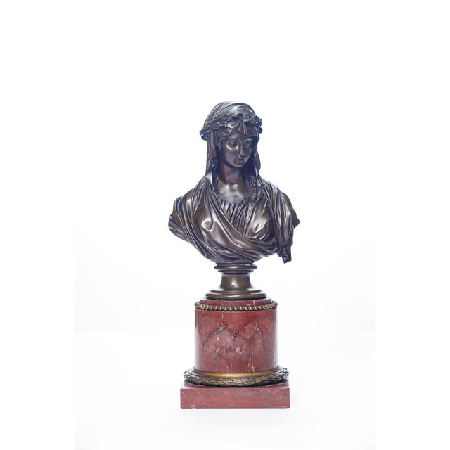 French 19th C. French Bronze and Marble Bust For Sale - Image 3 of 3