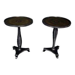 Vintage Regency Style Carved Mahogany Glass Top End Tables- A Pair For Sale