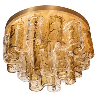 Italian Mid-Century Modern Topaz Wave Glass Flush Mount Chandelier by Mazzega