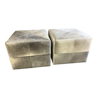 Contemporary Jamie Young Cowhide Upholsered Ottomans - a Pair