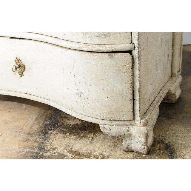 Rococo Antique 18Th. C. Swedish Painted Wood Three Drawer Chest, Gustavian For Sale - Image 3 of 13