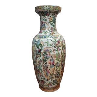 1970s Chinese Rose Medallion Porcelain Floral Vase For Sale