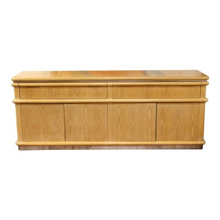 Contemporary Modern Signed Jay Spectre Credenza Cerused Oak & Chrome 80s For Sale