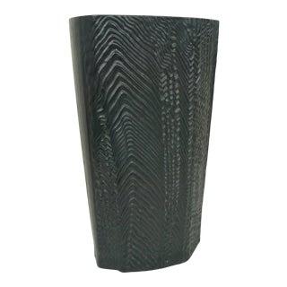 Vintage Rosenthal Martin Freyer Black Textural Porcelain Vase For Sale